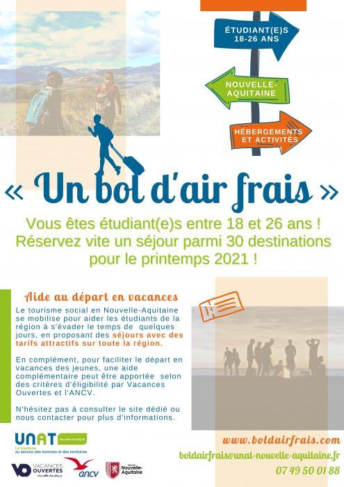 «Un bol d'air frais» : une opération en Nouvelle-Aquitaine pour aider les étudiants entre 18 et 26 ans à partir en vacances